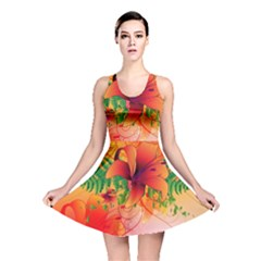 Awesome Red Flowers With Leaves Reversible Skater Dresses