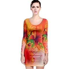 Awesome Red Flowers With Leaves Long Sleeve Bodycon Dresses