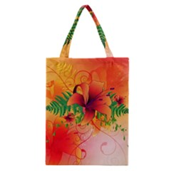 Awesome Red Flowers With Leaves Classic Tote Bags