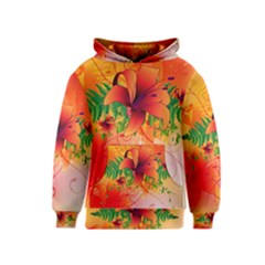Awesome Red Flowers With Leaves Kid s Pullover Hoodies