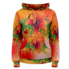 Awesome Red Flowers With Leaves Women s Pullover Hoodies