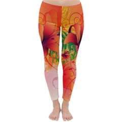 Awesome Red Flowers With Leaves Winter Leggings