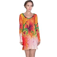 Awesome Red Flowers With Leaves Long Sleeve Nightdresses