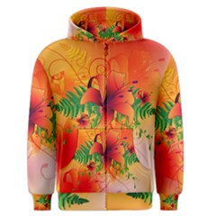 Awesome Red Flowers With Leaves Men s Zipper Hoodies