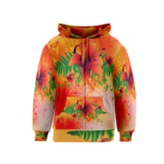 Awesome Red Flowers With Leaves Kids Zipper Hoodies