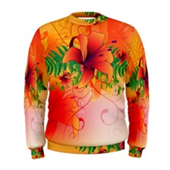 Awesome Red Flowers With Leaves Men s Sweatshirts