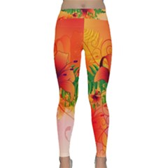 Awesome Red Flowers With Leaves Yoga Leggings
