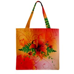 Awesome Red Flowers With Leaves Zipper Grocery Tote Bags