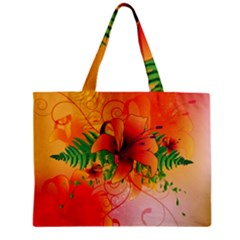 Awesome Red Flowers With Leaves Zipper Tiny Tote Bags