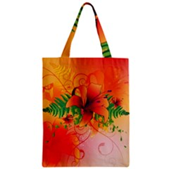 Awesome Red Flowers With Leaves Zipper Classic Tote Bags