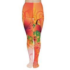 Awesome Red Flowers With Leaves Women s Tights