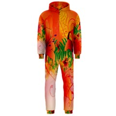 Awesome Red Flowers With Leaves Hooded Jumpsuit (Men)