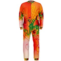 Awesome Red Flowers With Leaves OnePiece Jumpsuit (Men)