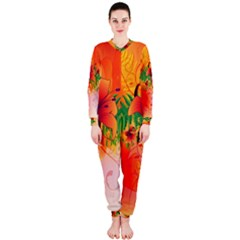 Awesome Red Flowers With Leaves OnePiece Jumpsuit (Ladies)