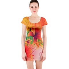 Awesome Red Flowers With Leaves Short Sleeve Bodycon Dresses