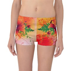 Awesome Red Flowers With Leaves Boyleg Bikini Bottoms