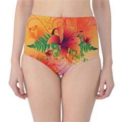 Awesome Red Flowers With Leaves High-Waist Bikini Bottoms
