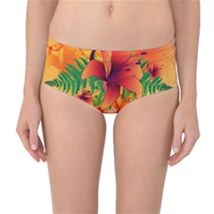 Awesome Red Flowers With Leaves Mid-Waist Bikini Bottoms