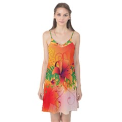 Awesome Red Flowers With Leaves Camis Nightgown