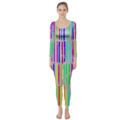 Colorful vintage stripes  Long Sleeve Catsuit