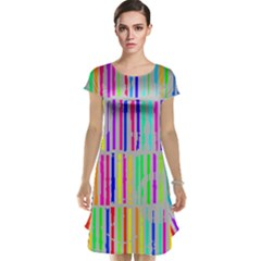 Colorful Vintage Stripes Cap Sleeve Nightdress