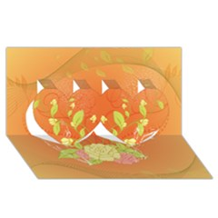 Beautiful Flowers In Soft Colors Twin Hearts 3D Greeting Card (8x4)