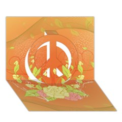 Beautiful Flowers In Soft Colors Peace Sign 3D Greeting Card (7x5)