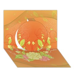 Beautiful Flowers In Soft Colors Circle 3D Greeting Card (7x5)