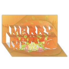 Beautiful Flowers In Soft Colors Merry Xmas 3D Greeting Card (8x4)