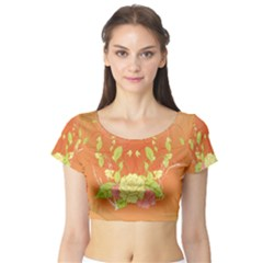 Beautiful Flowers In Soft Colors Short Sleeve Crop Top