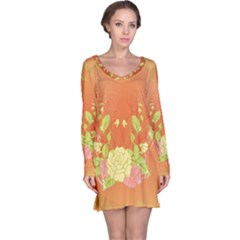 Beautiful Flowers In Soft Colors Long Sleeve Nightdresses