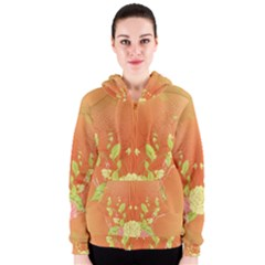 Beautiful Flowers In Soft Colors Women s Zipper Hoodies