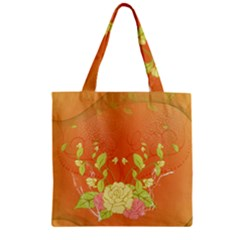 Beautiful Flowers In Soft Colors Zipper Grocery Tote Bags