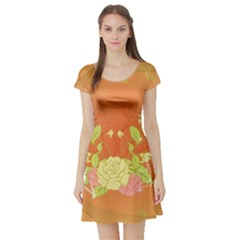 Beautiful Flowers In Soft Colors Short Sleeve Skater Dresses