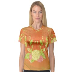 Beautiful Flowers In Soft Colors Women s V-Neck Sport Mesh Tee