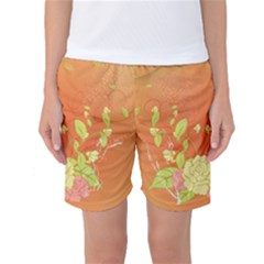Beautiful Flowers In Soft Colors Women s Basketball Shorts