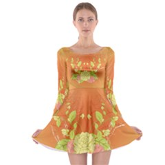 Beautiful Flowers In Soft Colors Long Sleeve Skater Dress