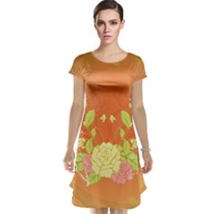Beautiful Flowers In Soft Colors Cap Sleeve Nightdresses