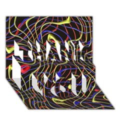 Ribbon Chaos 2 Black  Thank You 3d Greeting Card (7x5)
