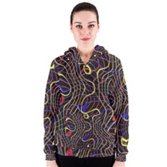 Ribbon Chaos 2 Black  Women s Zipper Hoodies