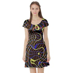 Ribbon Chaos 2 Black  Short Sleeve Skater Dresses