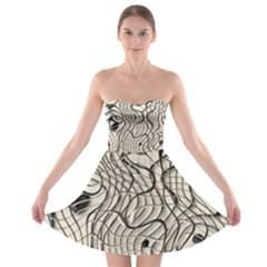 Ribbon Chaos 2  Strapless Bra Top Dress