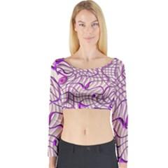 Ribbon Chaos 2 Lilac Long Sleeve Crop Top