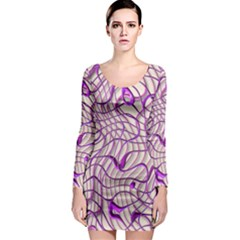 Ribbon Chaos 2 Lilac Long Sleeve Bodycon Dresses