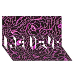 Ribbon Chaos 2 Pink BELIEVE 3D Greeting Card (8x4)