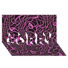 Ribbon Chaos 2 Pink Sorry 3d Greeting Card (8x4)