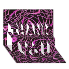 Ribbon Chaos 2 Pink THANK YOU 3D Greeting Card (7x5)