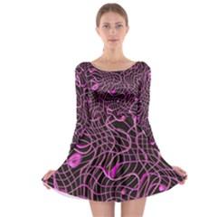Ribbon Chaos 2 Pink Long Sleeve Skater Dress