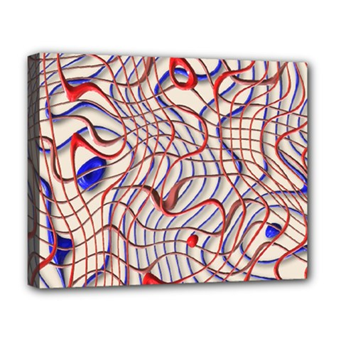 Ribbon Chaos 2 Red Blue Deluxe Canvas 20  X 16
