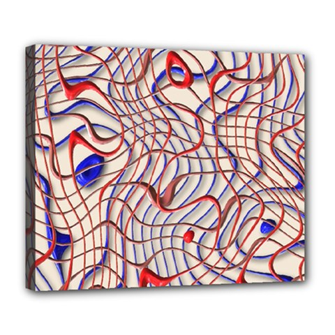 Ribbon Chaos 2 Red Blue Deluxe Canvas 24  X 20
